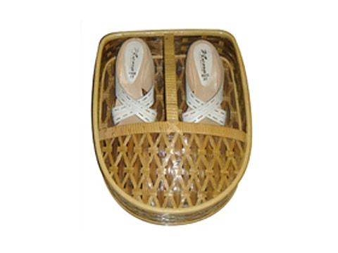 ตะกร้ารองเท้าหวาย+ไม้ไผ่